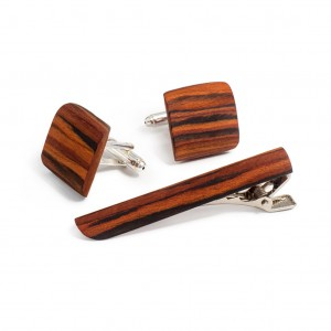 Bug Rosewood Tieclip / Cufflinks Set