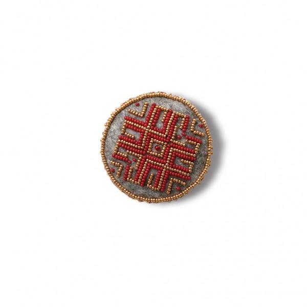 Latvian traditional brooch - red