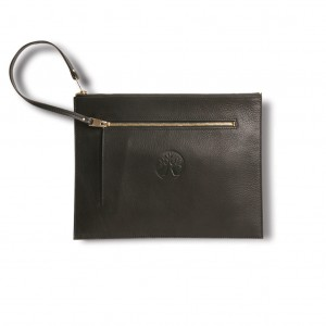 Leather document case with zip