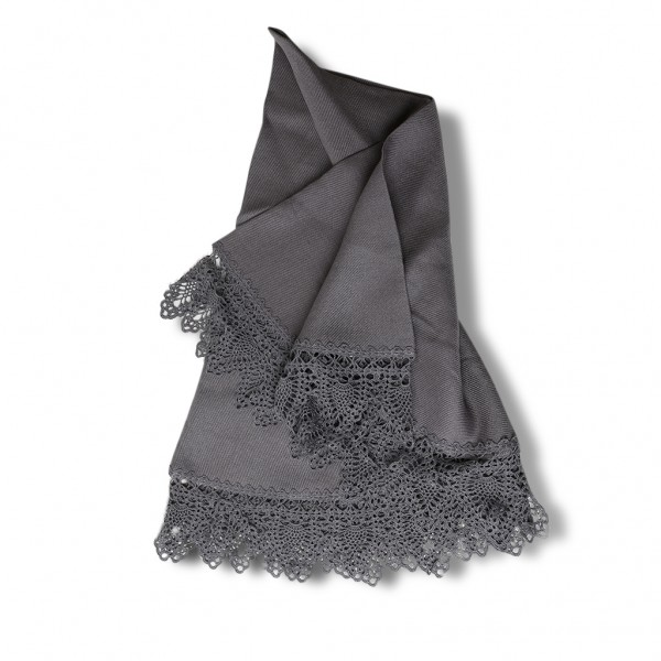 Table cloth dark grey round