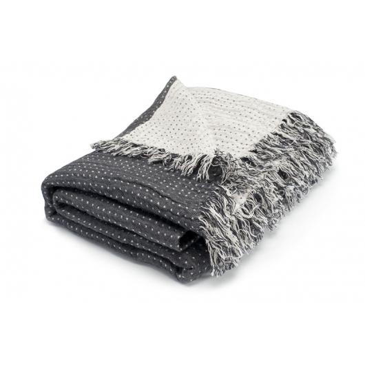 linen plaid gray white