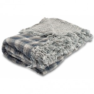 linen throw blue-gray
