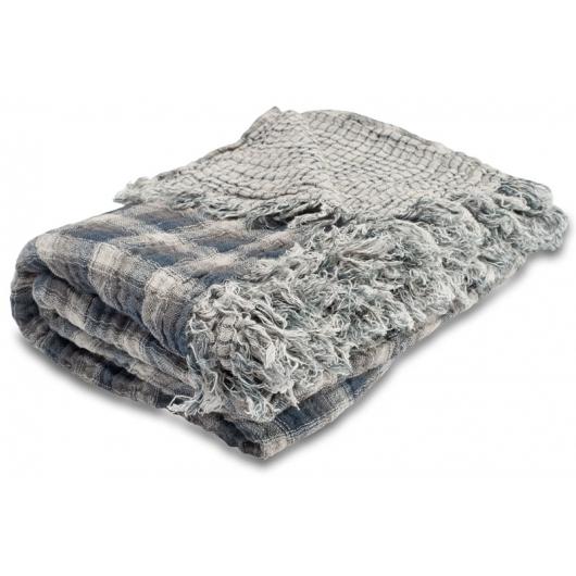 linen throw blue-gray
