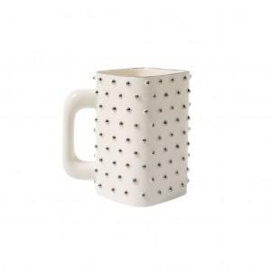 porcelain mug silver dots