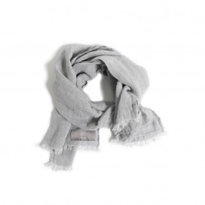 LINEN SCARF LIGHT GRAY